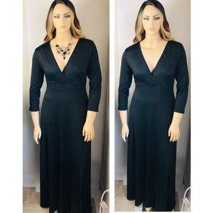XL Solid Black 3/4 Sleeve Long Maxi Dress
